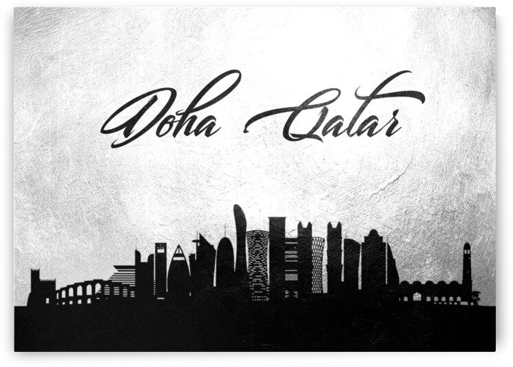 doha qatar charcoal skyline wall art by ABConcepts