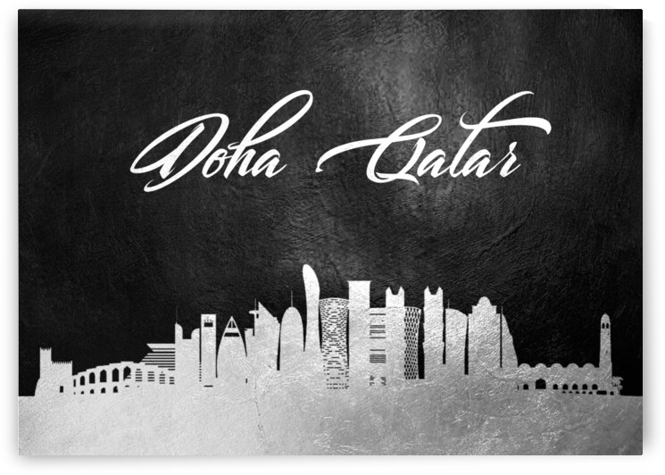 doha qatar silver skyline wall art 2 by ABConcepts