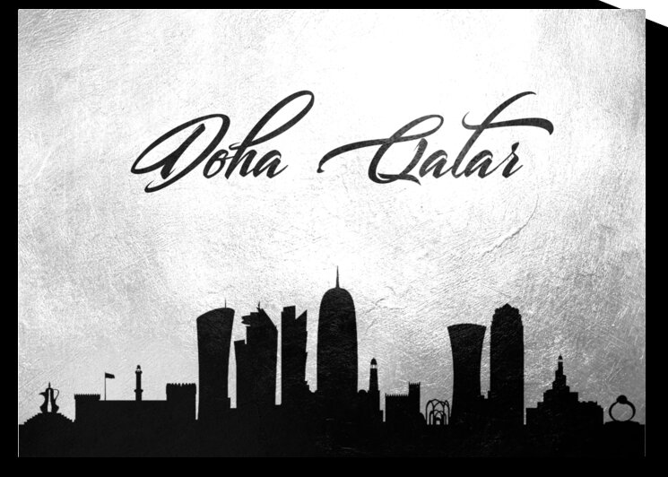 doha qatar charcoal skyline wall art 2 by ABConcepts