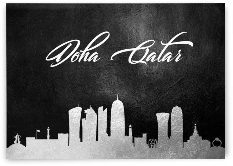 doha qatar silver skyline wall art by ABConcepts
