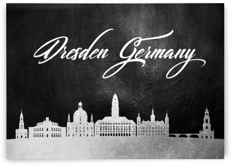 dresden germany silver skyline wall art by ABConcepts