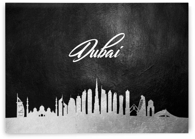 dubai united arab emirates silver skyline wall art 2 by ABConcepts