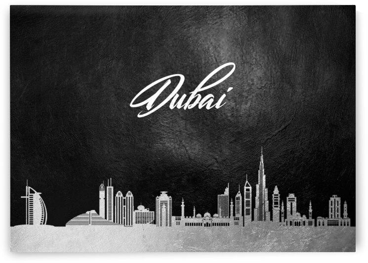 dubai united arab emirates silver skyline wall art by ABConcepts
