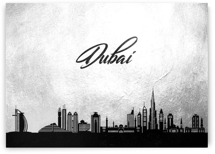 dubai united arab emirates charcoal skyline wall art 2 by ABConcepts