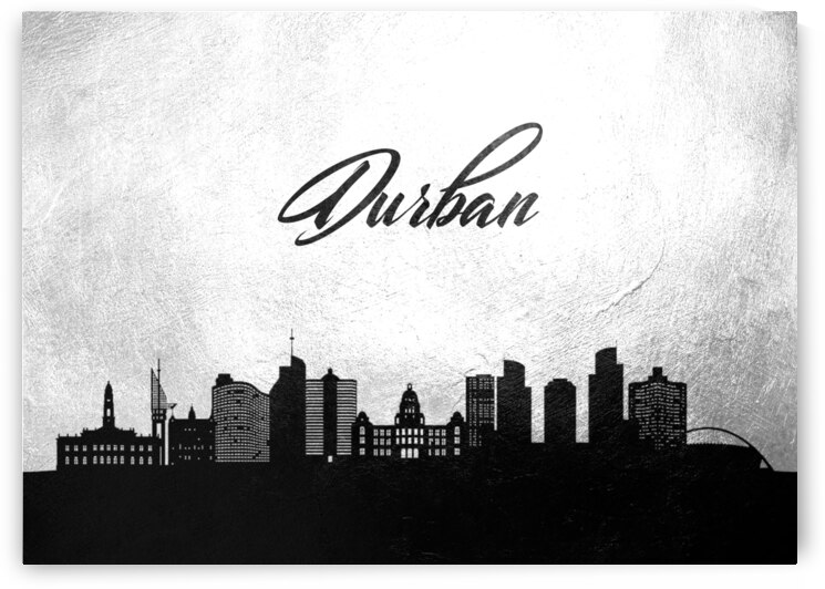 durban south africa charcoal skyline wall art by ABConcepts