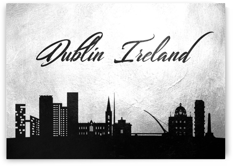 dublin ireland charcoal skyline wall art by ABConcepts