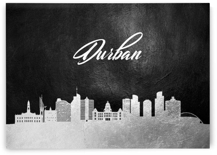 durban south africa silver skyline wall art by ABConcepts