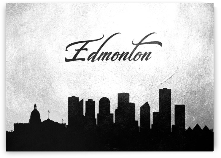 edmonton canada charcoal skyline wall art 2 by ABConcepts