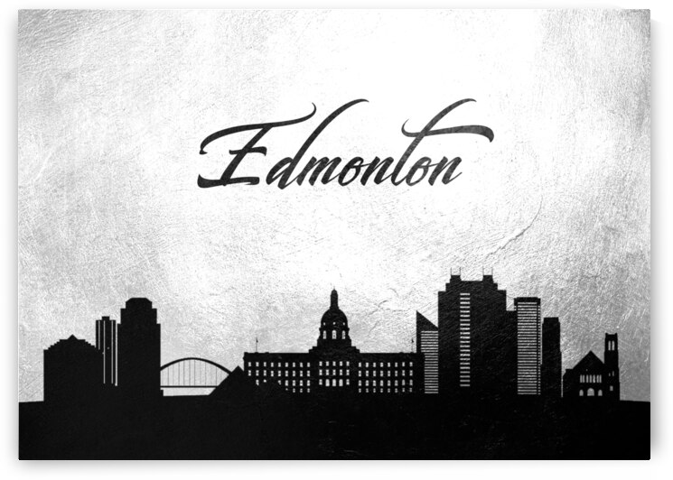edmonton canada charcoal skyline wall art by ABConcepts