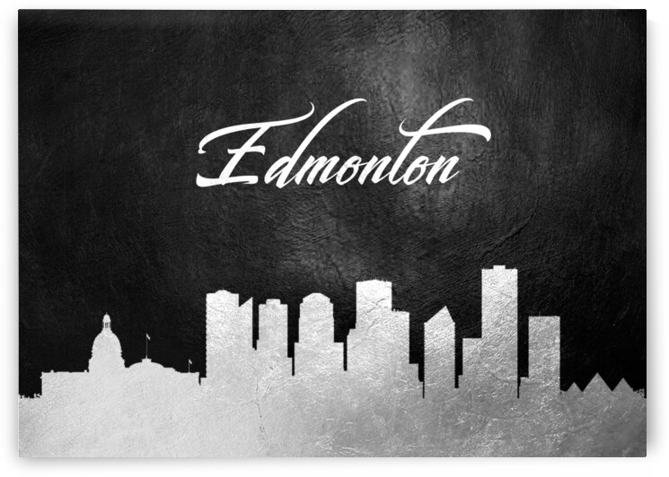 edmonton canada silver skyline wall art by ABConcepts