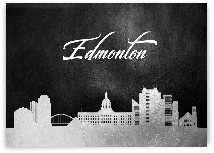 edmonton canada silver skyline wall art 2 by ABConcepts