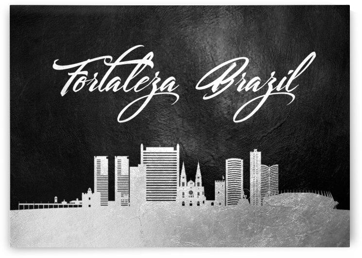fortaleza brazil silver skyline wall art by ABConcepts