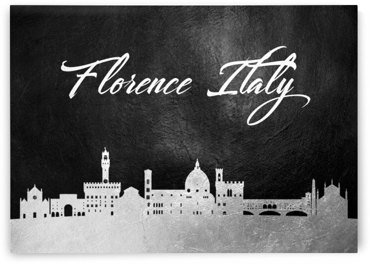 florence italy silver skyline wall art by ABConcepts