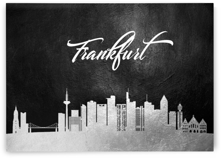 frankfurt germany silver skyline wall art by ABConcepts