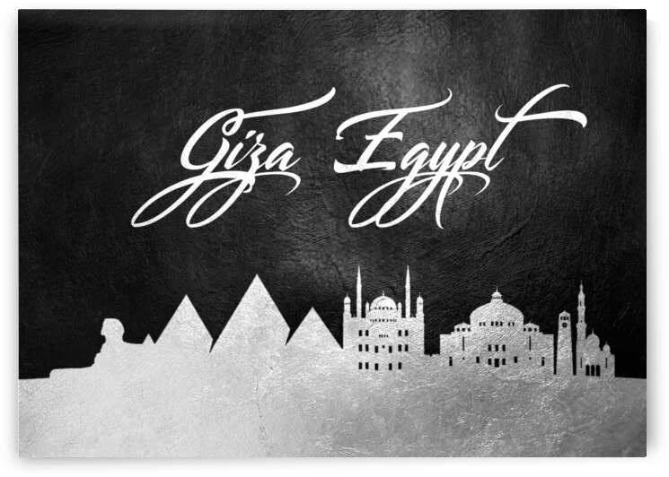 giza egypt silver skyline wall art by ABConcepts