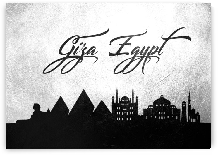 giza egypt charcoal skyline wall art by ABConcepts