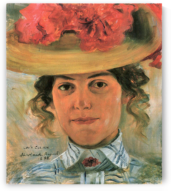 Womens Half-portrait with straw hat by Lovis Corinth by Lovis Corinth