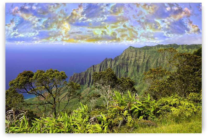 Sunset at Puu O Kila Lookout Kohala Mountains on the Island of Kauai in Hawaii by 24