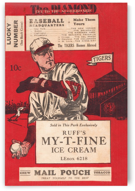 1933 Detroit Tigers Score Card Art by Row One Brand