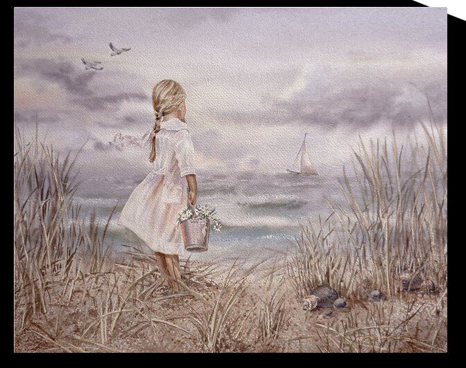 Girl And Ocean Vintage Monochrome Watercolor by Irina Sztukowski