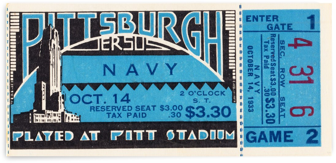 1933 Pittsburgh vs. Navy Football Ticket Art by Row One Brand
