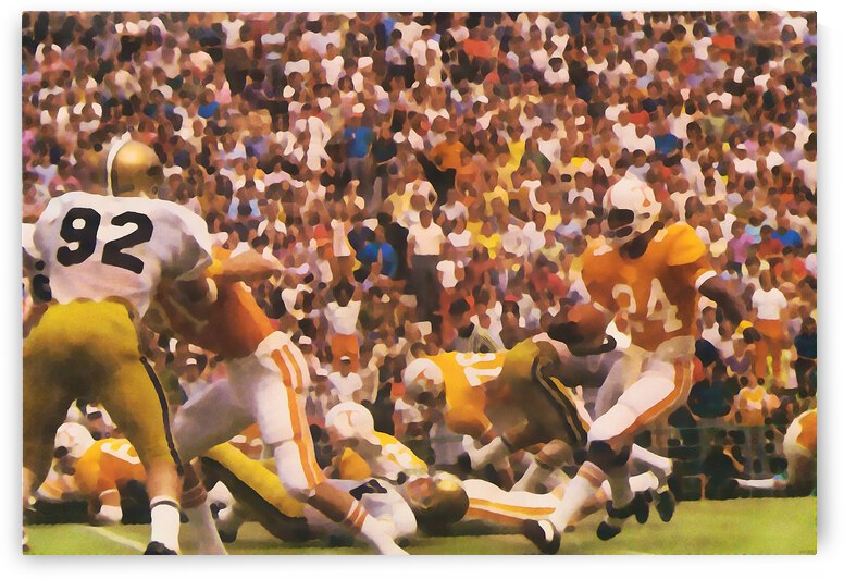 Retro Tennessee Vols Haskel Stanback Football Art by Row One Brand
