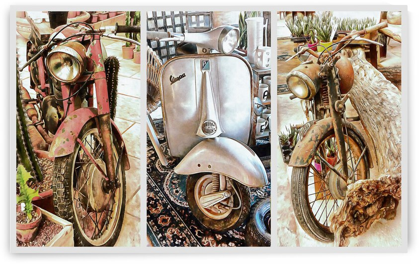 Alternative Uses for Vintage Motorcycles Collage by Dorothy Berry-Lound