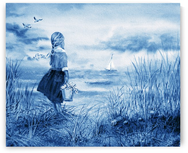 Girl And The Ocean Beach Painting In Ultramarine Blue  by Irina Sztukowski