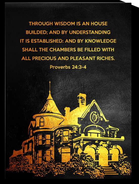 Proverbs 24:3-4 Bible Verse Wall Art by ABConcepts