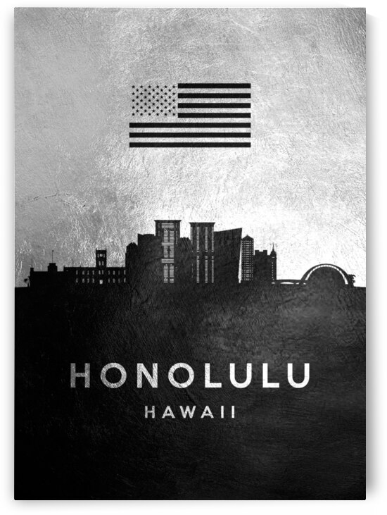 honolulu hawaii silver skyline 2 by ABConcepts