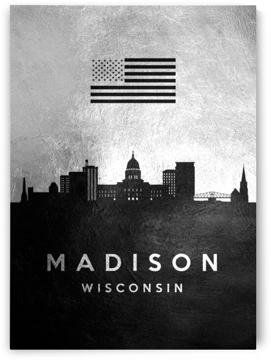 madison wisconsin silver skyline 2 by ABConcepts
