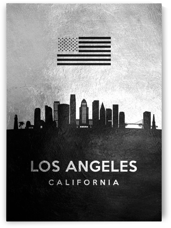 los angeles california silver skyline 2 by ABConcepts