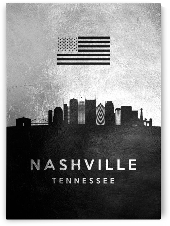 nashville tennessee silver skyline 2 by ABConcepts