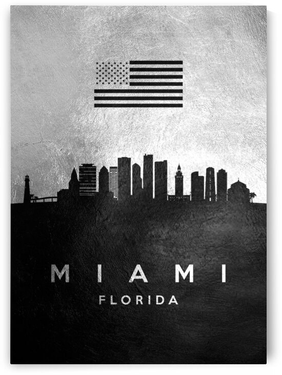 miami florida silver skyline 2 by ABConcepts