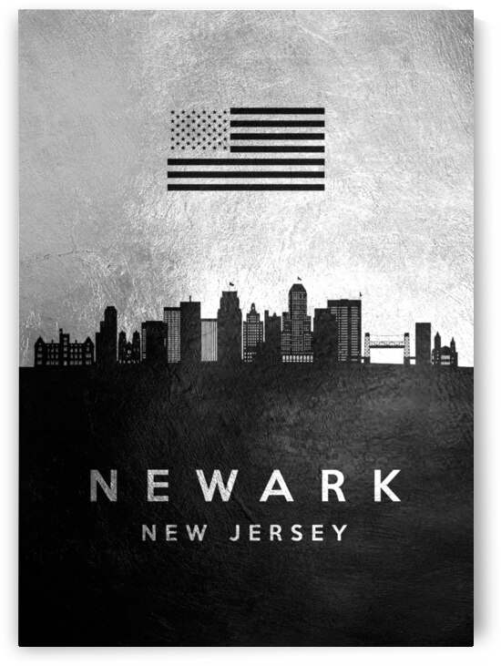 newark new jersey silver skyline 2 by ABConcepts