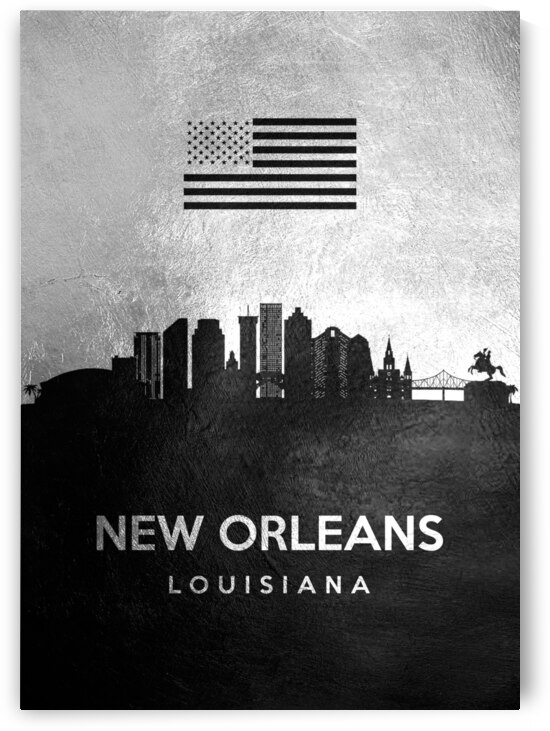 new orleans louisiana silver skyline 2 by ABConcepts