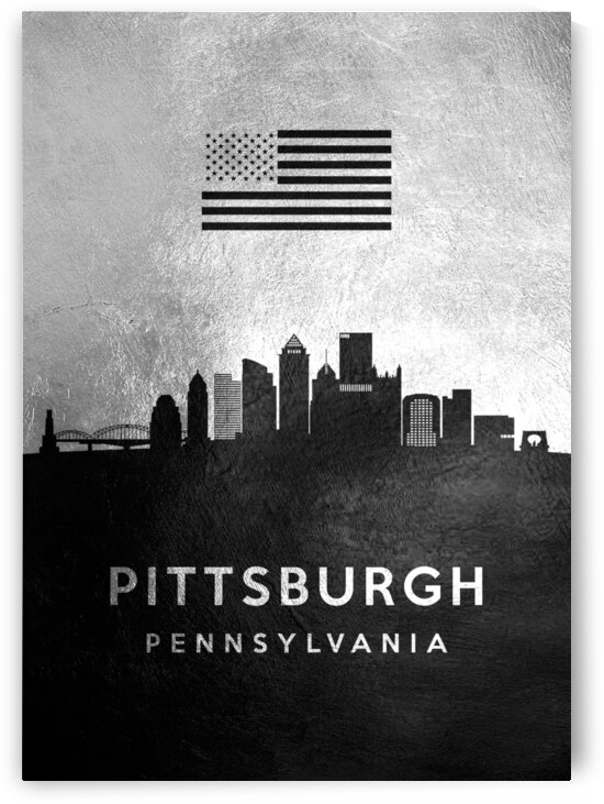 pittsburgh pennsylvania silver skyline 2 by ABConcepts