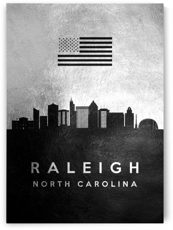 raleigh north carolina silver skyline 2 by ABConcepts