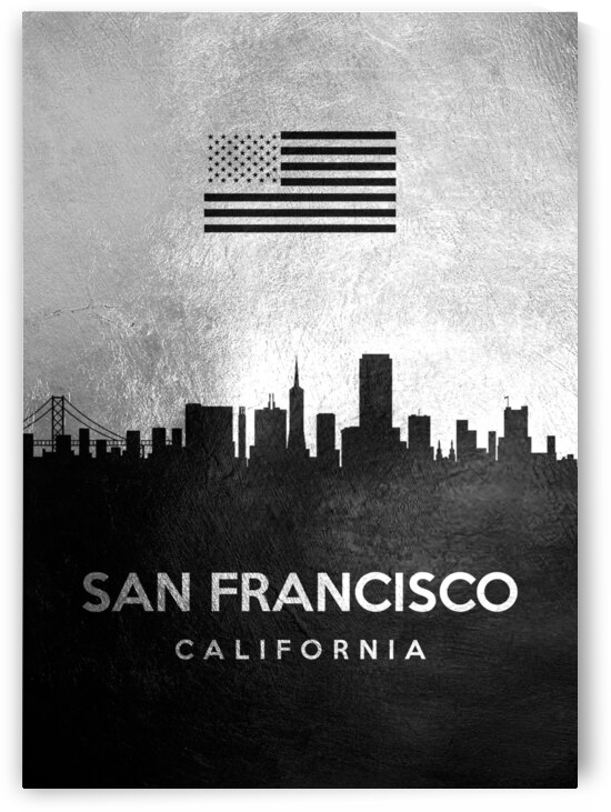 san francisco california silver skyline 3 by ABConcepts