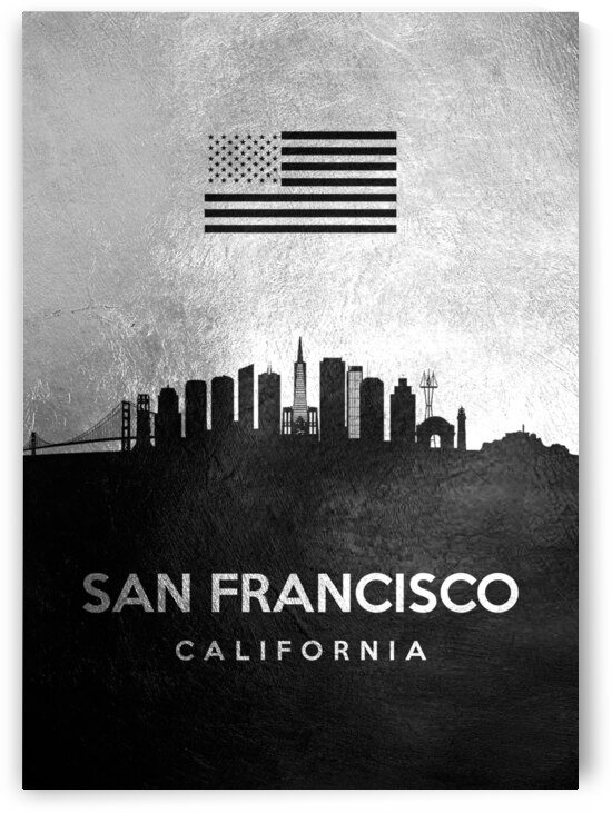 san francisco california silver skyline 4 by ABConcepts