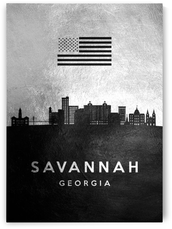 savannah georgia silver skyline 2 by ABConcepts