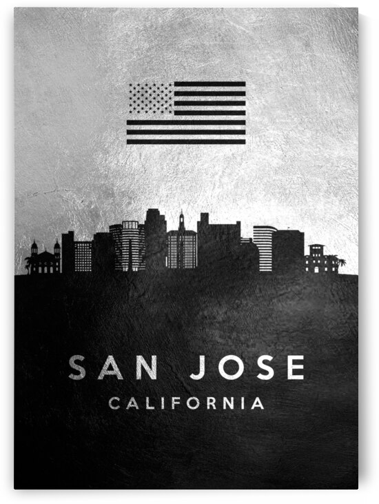 san jose california silver skyline 2 by ABConcepts