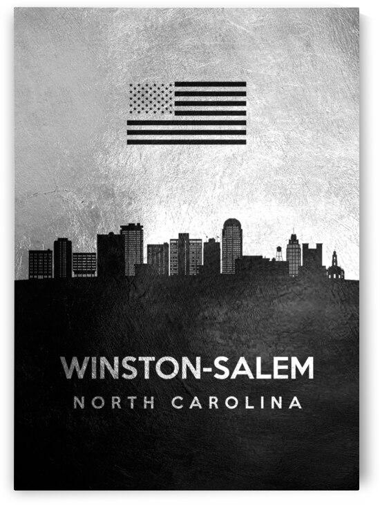 winston salem north carolina silver skyline 2 by ABConcepts