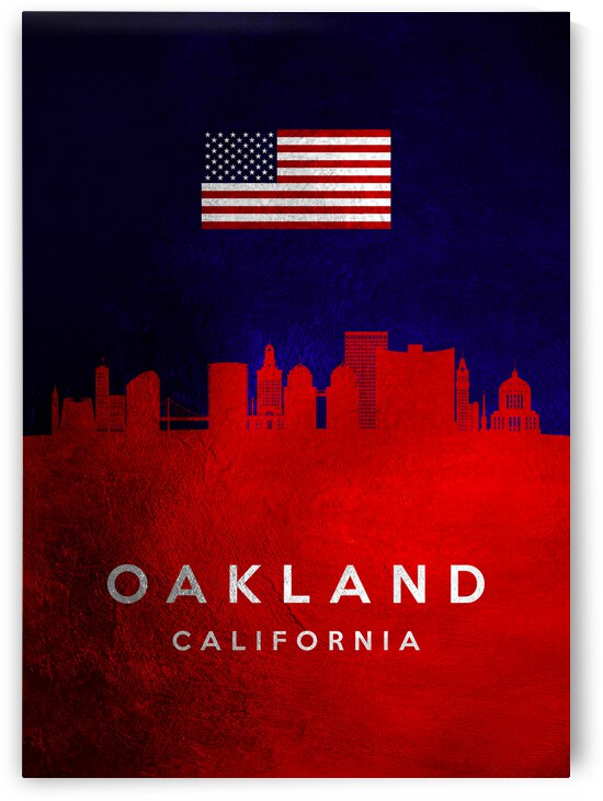 oakland california blue red skyline by ABConcepts