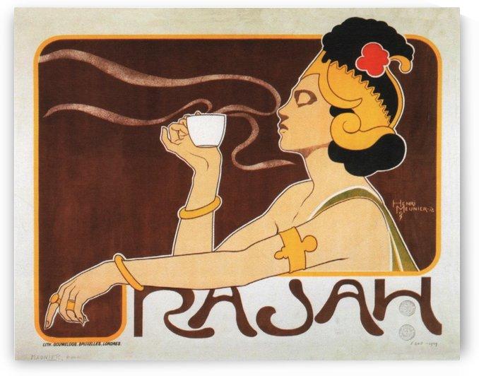 Rajah Coffee Belgian Art Nouveau Vintage Advertising Poster Henri Meunier 1898 by VINTAGE POSTER