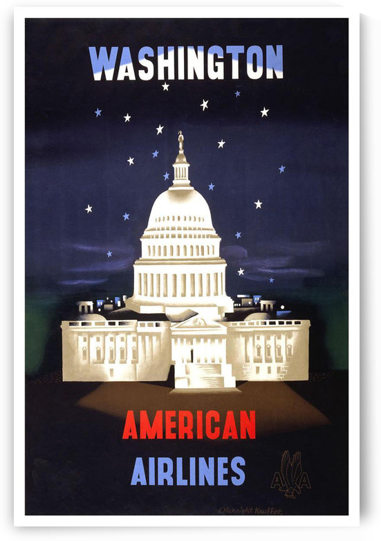 Washington American Airlines vintage travel poster by VINTAGE POSTER