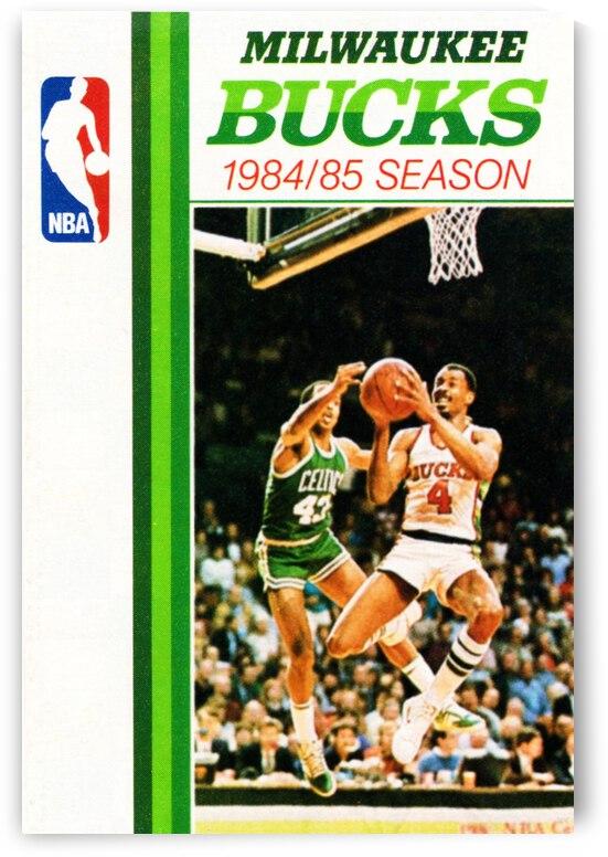 1984 Milwaukee Bucks Retro Basketball Art by Row One Brand