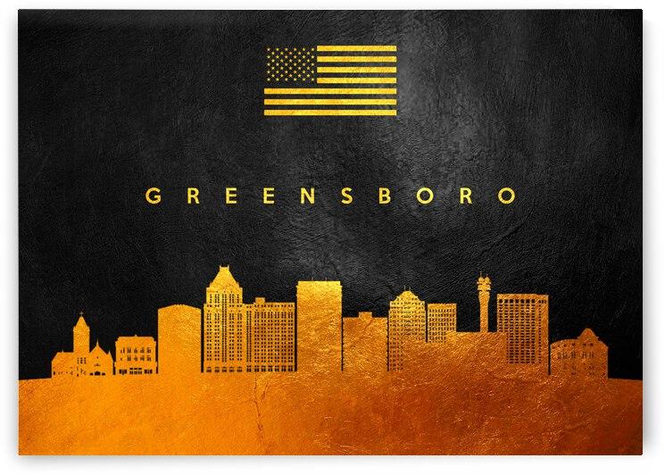 greensboro north carolina gold skyline by ABConcepts