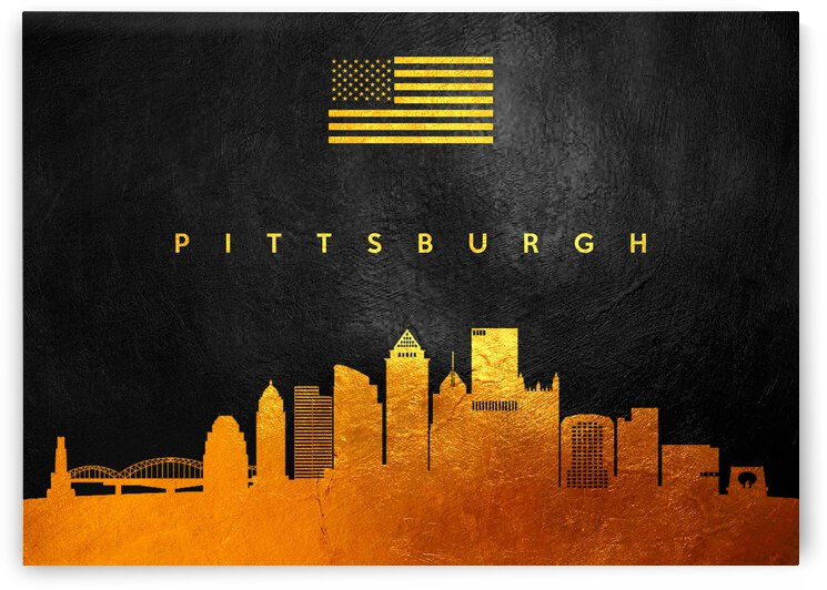 pittsburgh pennsylvania gold skyline by ABConcepts