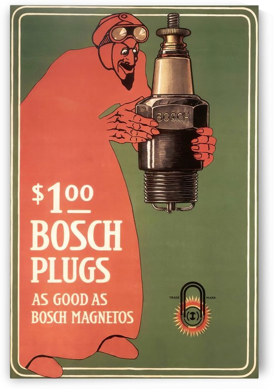 Vintage Bosch Spark Plugs Advertising Poster by VINTAGE POSTER